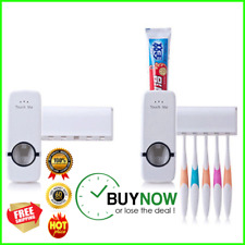 Auto Toothpaste Dispenser Squeezer Set With Wall Mount Toothbrush Holder Tool