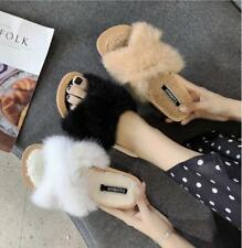 Womens Comfy Fluffy Slippers Ladies Cross Flat  Slip On House Open Toe Mule Size