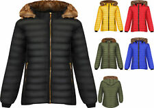 Womens Long Sleeve Faux Fur Hood Puffer Jacket Ladies Plus Size Coat Zip 14-28