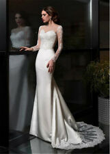 Wedding Dresses V Neck Long Sleeve Satin Appliques Sweep Trail Bride Gowns 2019