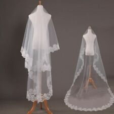Wedding Veil Mariage One Layer Lace Edge Pure White Ivory Cathedral Long Bridal