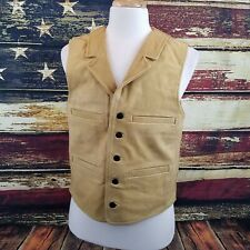 Wyoming Traders Mens Buffalo Leather Western Cowboy Vest - TAN