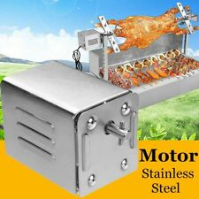 Stainless Steel BBQ Grill Roaster Spit Electric Motor Pig Lamb Goat Chicken Meat