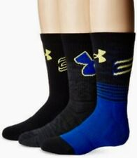 UNDER ARMOUR SC30 Phenom Curry Black Royal Blue Basketball Crew Sock Boys 13.5-4