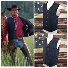 Wyoming Traders Mens Ranger Pinstriped Wool Conceal Carry Western Vest