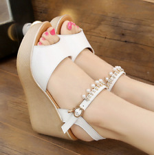 Womens Platform Wedge Heels Sandals Pearl Ankle Buckle Casual Shoes Size Fashion