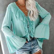 Womens Sexy Deep V Neck Blouse Shirt Lace up Long Sleeve Casual Solid Blouse Top