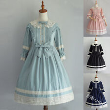 Gothic Lolita Bowknot Dress Victorian Medieval Girl Lace Gown Cosplay Costumes