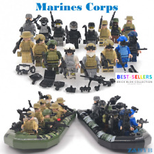 16pcs WW2 War Military Soldiers + Boat Army + Weapon Building Block Minifigures