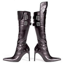 """BLACK Faux Leather Pirate Style 4"""" Heel KNEE HIGH BOOTS"""