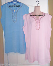 UNITI CASUALS NY  - TOP - TUNIC – LONG LENGTH - BLUE - PINK –PLUS SIZE 2X –NWT