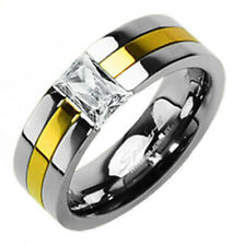 Titanium Gold Men's Emerald Cut CZ Ring Size 5-14 Avail