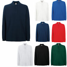 FRUIT OF THE LOOM 100% COTTON LONG SLEEVE POLO SHIRT
