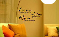 LEARN - LIVE - HOPE WALL ART WALL QUOTE STICKER DECAL