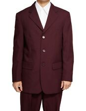 New Men's 3 Button Maroon Burgundy Dress Suit All Sizes