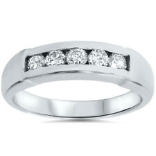 REAL MENS .50CT DIAMOND CHANNEL SET VINTAGE WEDDING RING BAND 14K WHITE GOLD