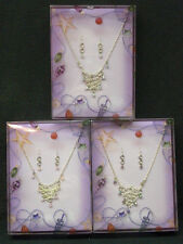FANCY SILVER PLATED NECKLACE & EARRINGS GIFT BOX SETS FOR KIDS/GIRLS/TEENS!