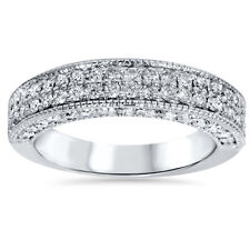 REAL 1.10CT Pave Round Diamond WIDE Heavy 14K Womens Wedding Ring Anniversary