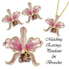GOLD PLATED CRYSTAL ORCHID FLOWER EARRINGS MADE WITH SWAROVSKI ELEMENTS