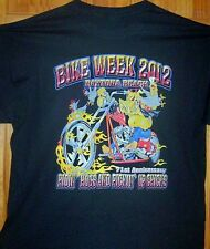 "2012 Daytona Beach Bike Week T Shirt "" RIDIN HOGS & PICKIN UP CHICKS "" Sz S - 5X"