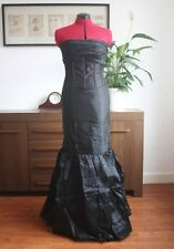CLEARANCE Black A-line/Princess Strapless Chapel Train Wedding Dress UK Size 14