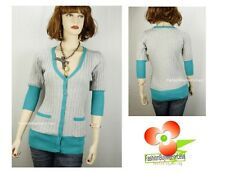 Uniquism Green Gray V-Neck Button-Down Pocket Knitted Sweater Cardigan S M L XL