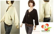 NWT CUE & EMM Missy V Neck Silk Knitted J.Lo Pullover Sweater Top S / M M / L