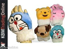 Kids Boys Girls Animal Face Warm Fingerless Gloves Teddy Bunny Dog Bear Cat NEW