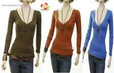 G5 Outlaw Long Sleeve Cotton Stretch deep V-Neck Knit Top Fitted Tee Shirt S M L