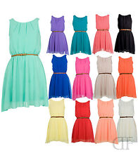 NEW WOMENS LADIES CHIFFON PLEATED BELTED SKATER DRESS
