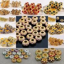 WHOLESALE AUSTRIAN CRYSTAL GOLD TONE BIG HOLE BEADS FINDINGS FIT CHARM BARCELET