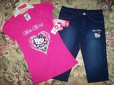 Hello Kitty Girls Outfit 2pc Set Top Capris Size 4 5 6 6X Pink Heart NWT