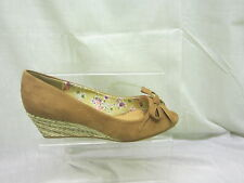 Ladies Anne Michelle Peep Toe Wedge Sandal With Bow In Tan 'L6056'