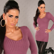 NEW SEXY LONG CASHMERE BLEND RIBBED SWEATER JUMPER 8 10 12 14 ~ PARTY/CASUAL