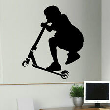 LARGE STUNT SCOOTER CHILDRENS BEDROOM WALL ART STICKER STENCIL TRANSFER DECAL