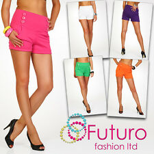 Elegant High Waist Women's Shorts Trousers Multicolours Girls Sizes UK 8-16 PA08