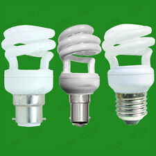 6x 9W Low Energy CFL Mini Spiral Light Bulbs; BC, B22, SBC, B15, ES, E27 Lamps