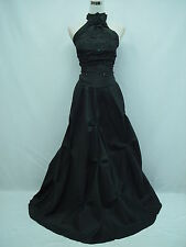 Cherlone Satin Black Halter Long Prom Ball Wedding/Evening Bridesmaid Gown Dress