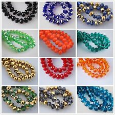 140 Faceted Glass Crystal Rondelle Loose Jewelry Design Diy Finding Beads 8x6mm