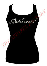 BRAND NEW JUNIOR'S RHINESTONE BRIDESMAID BRIDE TANK TOP SHIRT S-2XL