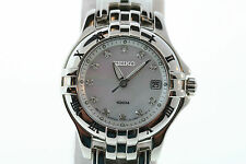 Womens Seiko Excelsior Mother of Pearl Dial Diamond Marker Stainless Steel Watch