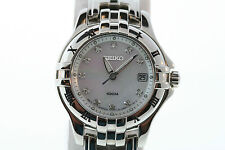 Womens Seiko SXDA31 Excelsior Mother of Pearl Dial Diamond Stainless Steel Watch