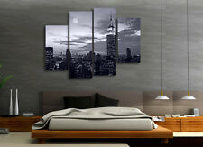 New York Night VIew BW With Blue Tint Modern Wall Art Quality Canvas Prints Set