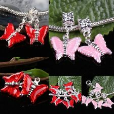 Enamel Red Pink Butterfly Dangle Big Hole Charm Beads Bail Fit European Bracelet