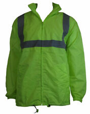 Hi-Vis Safety Workwear Waterproof Hooded Rain Coat/Jacket w/ Reflective Tape