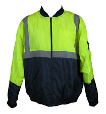 Hi-Vis Safety Workwear Hooded Bomber Jacket with Reflective Tape (Lime)