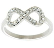QVC Pave Crystal Infinity Ring Stainless Steel by Design J279114 FREE SHIPPING