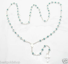 Solid Ocean Blue Baby Evil Eye Crucifix Rosary Chain Real 925 Sterling Silver