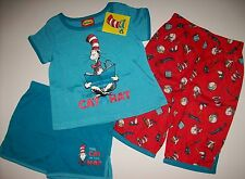 Dr. Seuss Cat in the Hat Pajamas 3pc Set Toddler Girls Sz 2T 3T 4T 5T  NWT