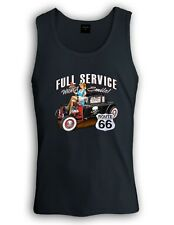 Full Service Route 66 Singlet with Smile Hot rod waitress drive shirt tank top